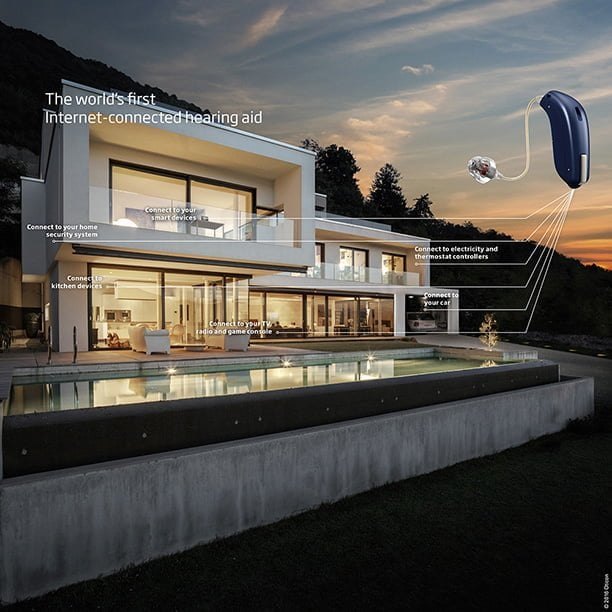 Home at dusk with an Oticon hearing aid imposed over top showing smart home connection capabilities